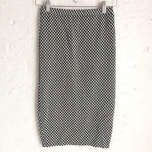 Bar ||| black & white checkered midi skirt